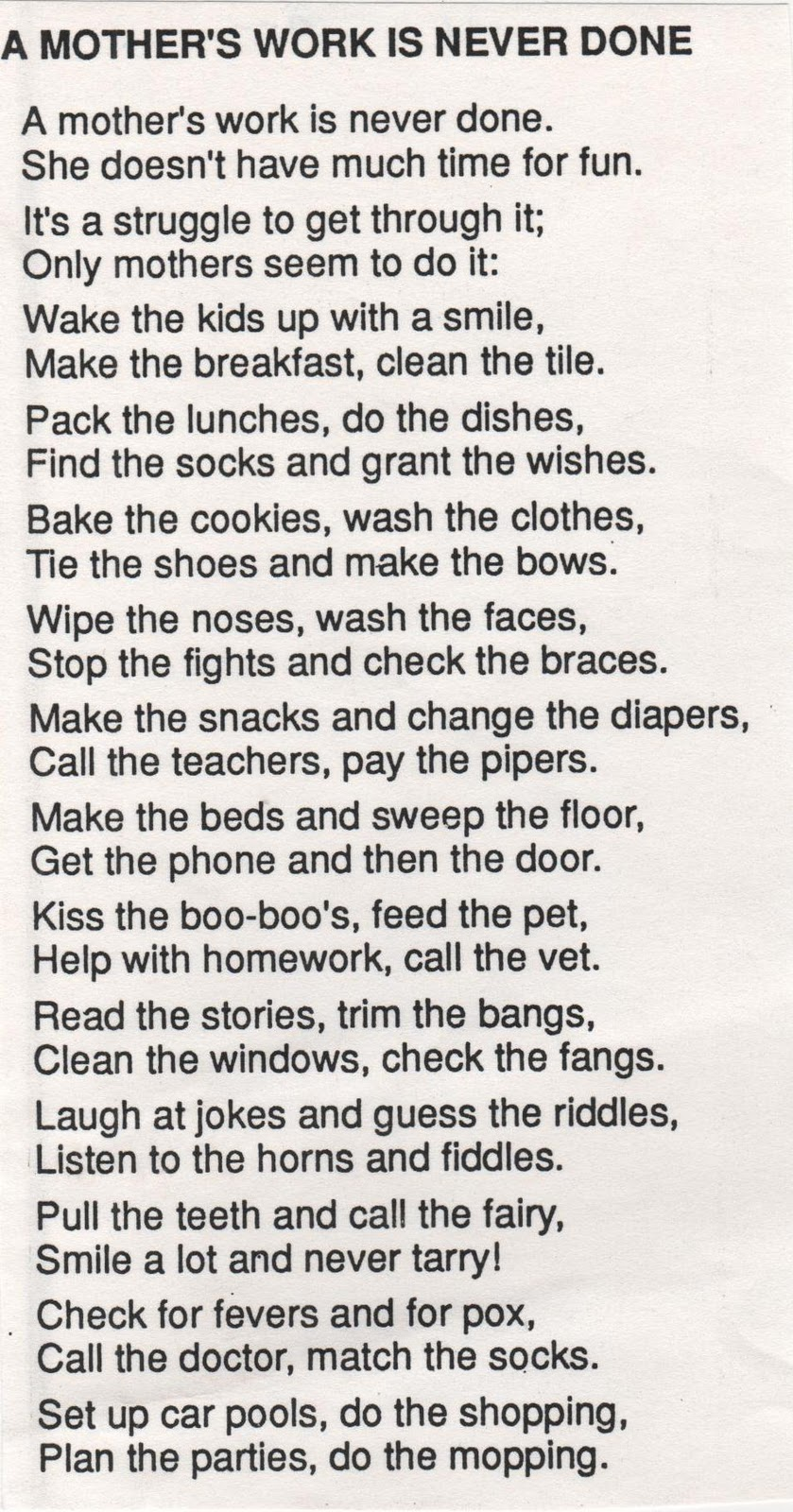 math worksheet : elementary school enrichment activities a mother s work is never  : Poems For Elementary School Students