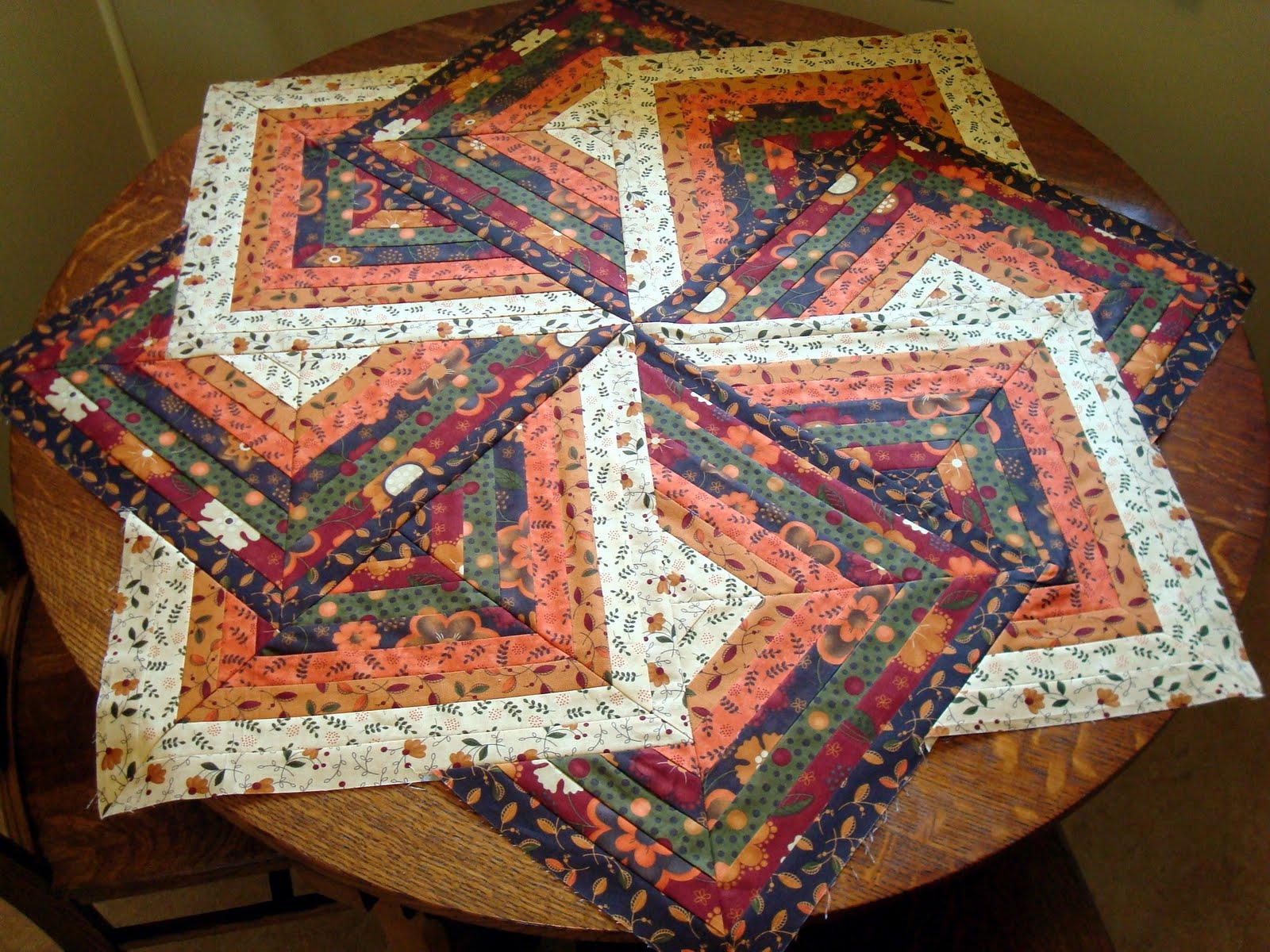 Squash House Quilts Crazy 8 Strip Teaser Table Topper