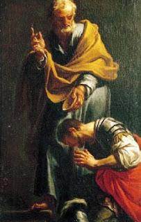 Peter baptizes Cornelius