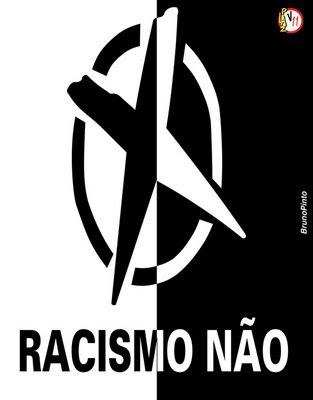 Racismo não - um círculo fechado com um x ao centro, imagem dividida em branco e preto