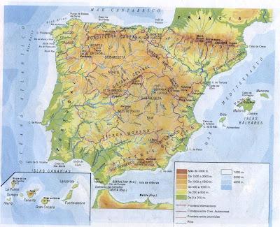 mapa europa fisico. Mapa Físico de España