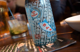 Traditional Japanese Ramune Soda Bottle from Guu with Garlic