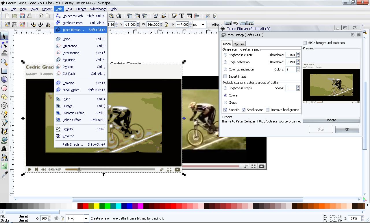 Design t shirt program - Design Mountain Bike T Shirts Vectorization In Inkscape