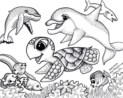 print and color baby honu and friends - Print And Color