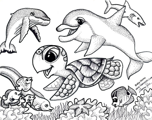 Baby sea animals coloring pages to print for kids for Sea creature coloring page