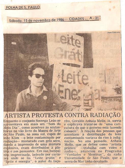 Artista protesta contra a radiação.