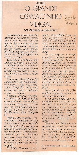 O grande Oswaldinho vidigal