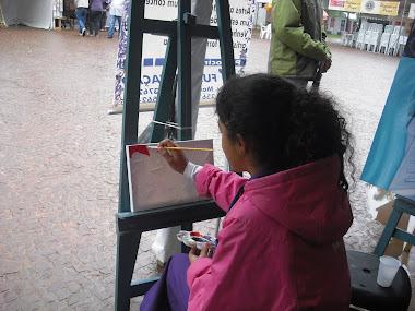 Pintando realmente na praça