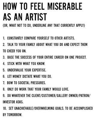 How to feel miserable as an Artist!