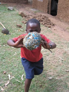 Most kids use an 'african football', which basically consists of foam from old cushions or paper, wrapped in old plastic bags and tied with twine.