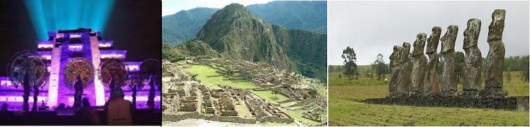 Pyramid of Tajin, Mexico; Machu Pichu, Peru; Island of Pascua, Chile