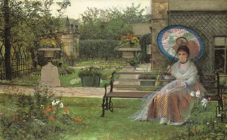 British Paintings John Atkinson Grimshaw In The Pleasaunce