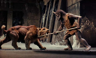 Sabertooth Tiger vs Bear http://hoosierinanity.blogspot.com/2008/10/your-harryhausen-moment-of-day_14.html
