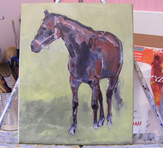 basis for black horse painting