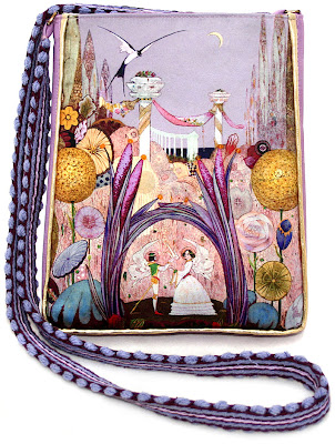 Thumbelina, fairytale shoulder bag in satins and silk, by Baba Studio