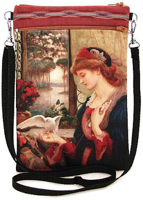 Love's messenger. Pre-Raphaelite shoulder bag, pouch in satin and vintage kimono. Suitable for passports, ipods, cellphone etc.