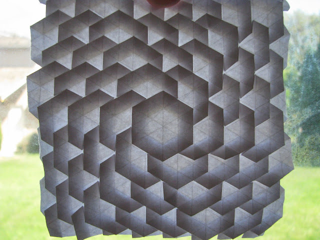 Eric Gjerde White Spread Hexagon Tessellation window lit front
