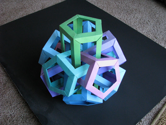 Daniel Kwan Six Interlocking Pentagonal Prisms Green to Purple