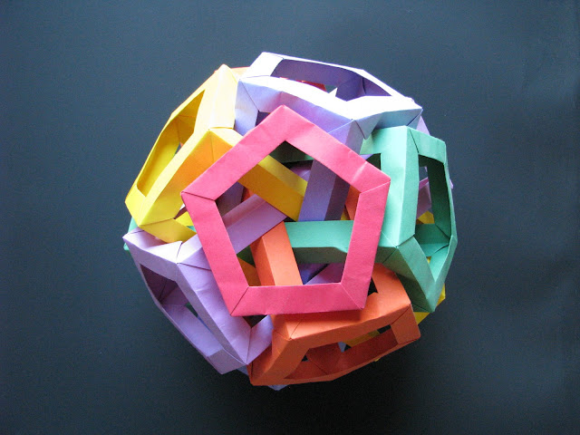 Daniel Kwan Six Interlocking Pentagonal Prisms Red, Orange, Yellow, Green, Blue, and Purple