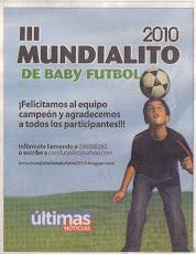BROCHE DE ORO DEL MUNDIALITO DE BABY FUTBOL 2010