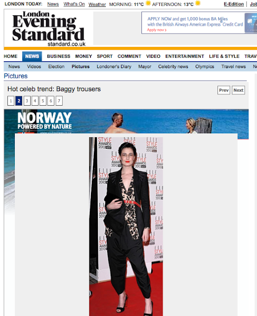ERIN O CONNOR in my AW2010 Jacket in Evening Standard