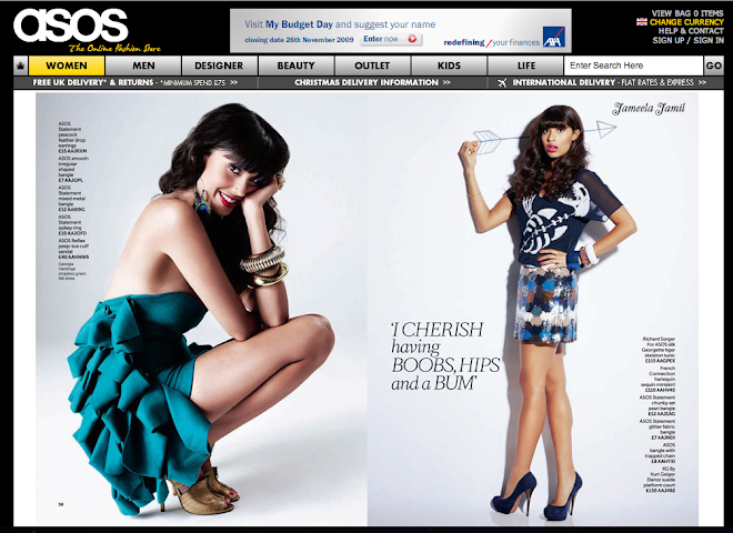 Asos Magazine, Jameela Jamil wearing my AW09 green wool dress