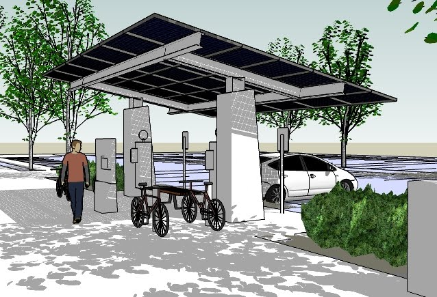 Omsi has installed a solar charging station for ebikes and evehicles