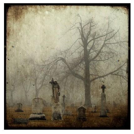 [graveyard+fog+cemetery]