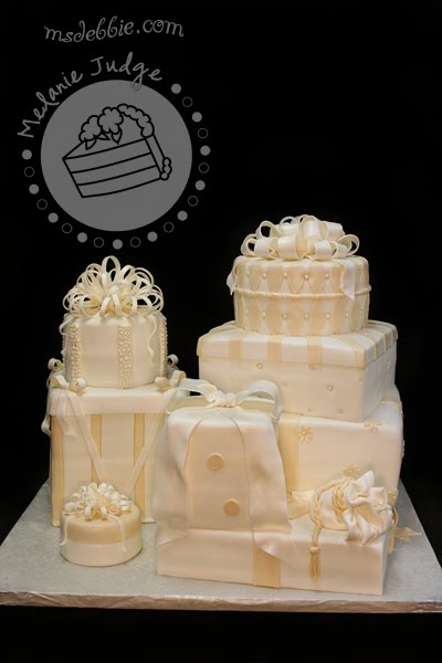 ivory gift packages wedding cake fondant bows presents