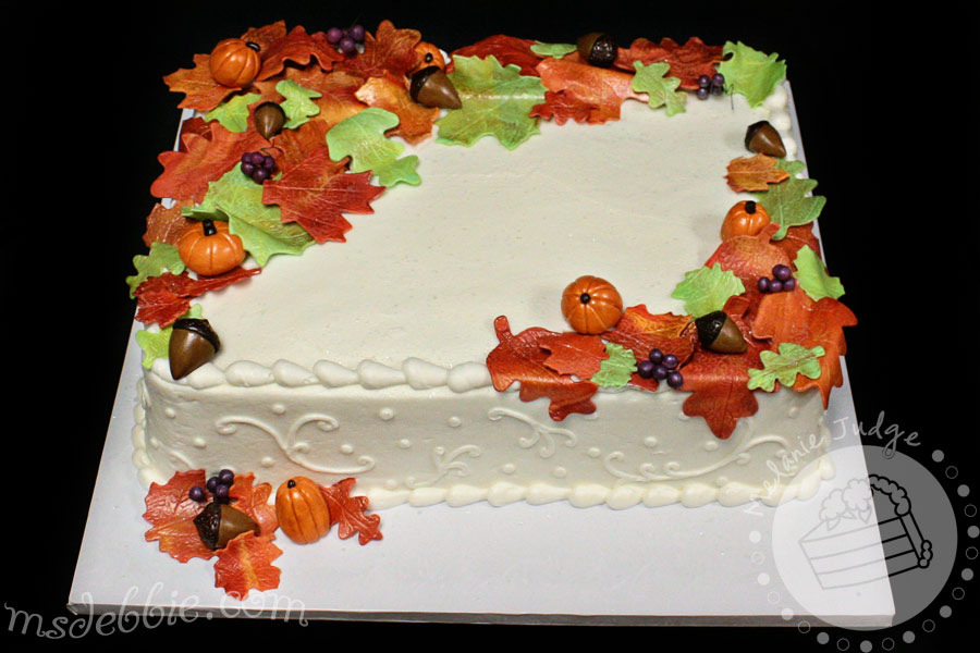 fall cake acorn pumpkin leaves