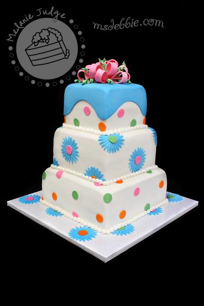 daisies blue pink green polka dot cake