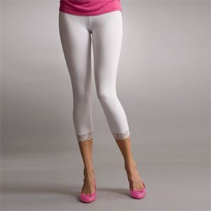 Collection White Cropped Leggings Pictures - Reikian