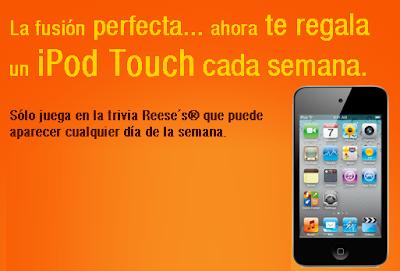 premio iPod Touch de 32 GB promocion Fusiona y gana trivia de Reese´sHershey México 2011