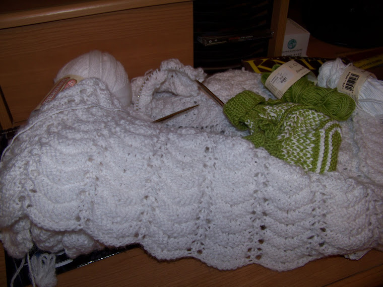 lacy baby blanket and Fair Isle booties