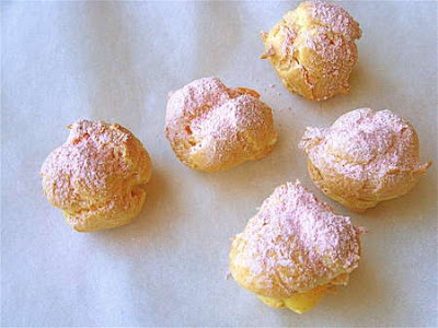 Yummy cream puffs with pink sugar. Great for a fairy tea party.