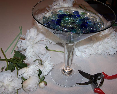 martini glass centerpieces. I then went outside and cut