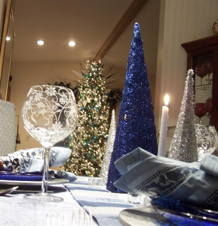 Blue and Silver Tablescape to Celebrate the Season