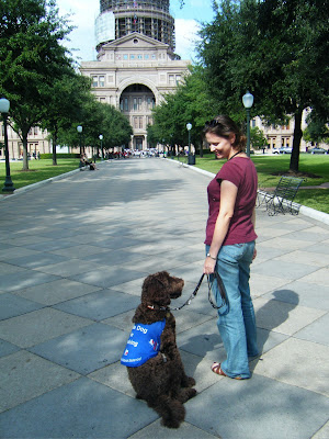 Alfie and me on the walkway leading up to the main entrance of the Capitol; he's jacketed and sitting all relaxed next to me