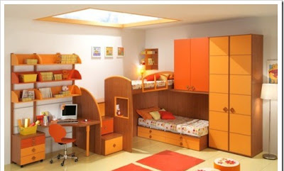 modern children room with two beds in different levels