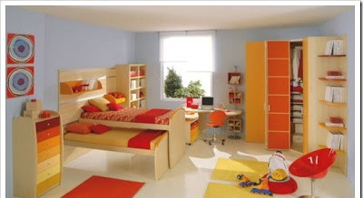 modern orange furniture for children room