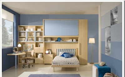 Blue colored teen room,designed with style perfect for boys