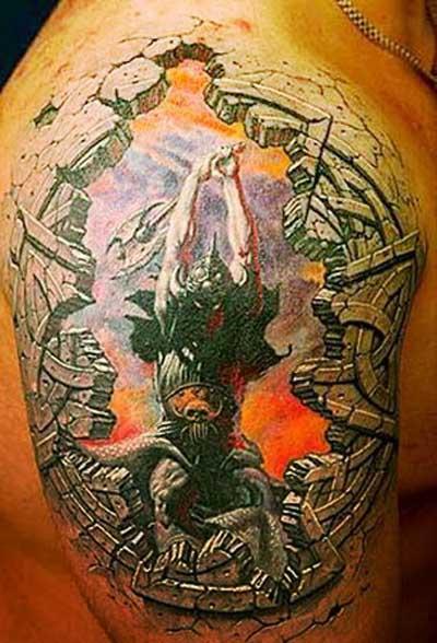 3D Warrior Tattoo Design 3D Warrior Tattoo Design on Hand