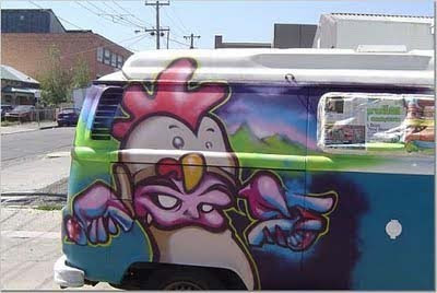 Graffiti art design on car