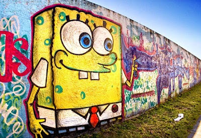 Sponge Bob Character Graffiti on Wall