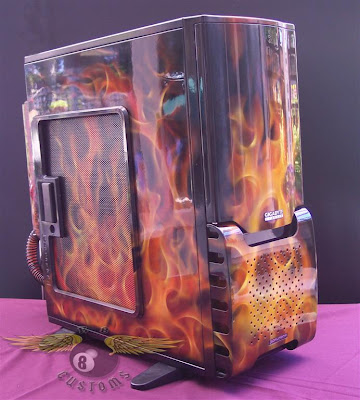 on fire gigabyte pc case airbrushed