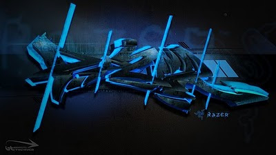3D Graffiti Alphabet Blue Letters
