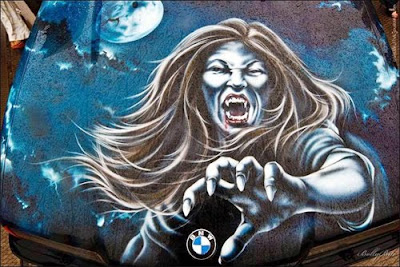 airbrush on BMW car