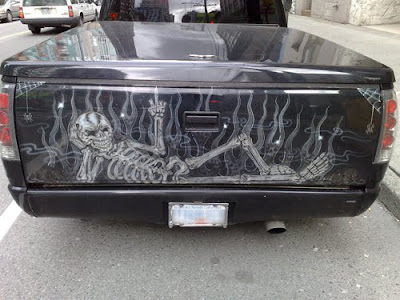 Great Skull Airbrushing on Back Pick Up Car