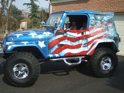 Airbrush USA Flag on Full Body Jeep Car Picture