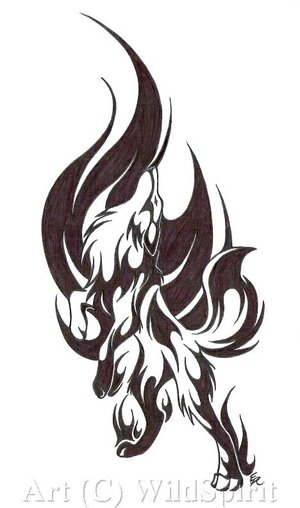 wolf tattoo art. Wolf tattoos can be worn by
